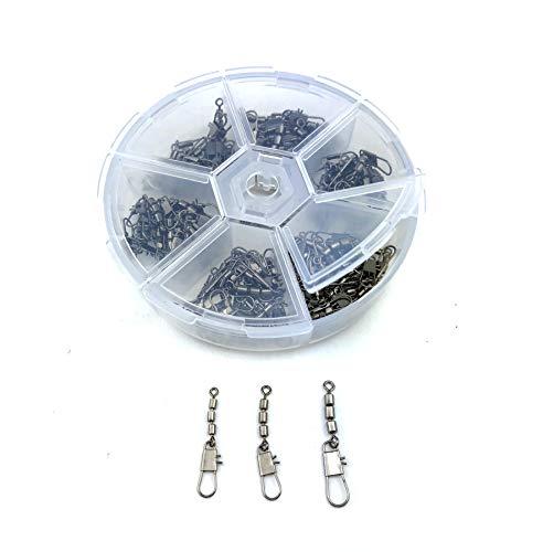 Zite Fishing Dreifach-Wirbel Sortiment 60 Stück - Inklusive praktischer Sortier-Box - Angelwirbel-Set Forellen-Wirbel Sbirolino-Angeln 3 Größen