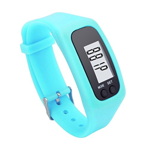 Perman Durable Digital LCD Pedometer Run Step Walking Distance Calorie Counter Watch Bracelet (Sky Blue)