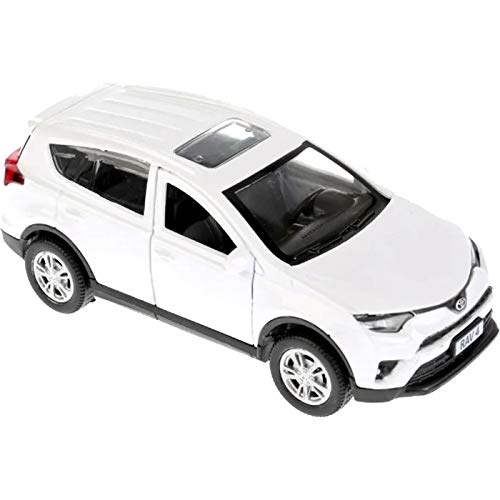 Diecast Toy Car Toyota RAV4 1/36 Scale Metal Model - White Сompact Сrossover SUV Russian Die Cast Toy Cars