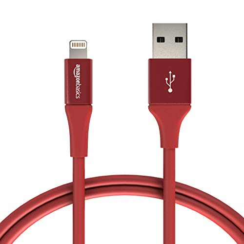 AmazonBasics USB A Cable with Lightning Connector, Premium Collection, MFi Certified Apple iPhone Charger, 3 Foot, Red