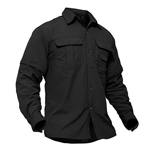 TACVASEN Nylon Wrinkle-Resistant Breathable Long Sleeve Shirt for Climbing Hiking Black, US M