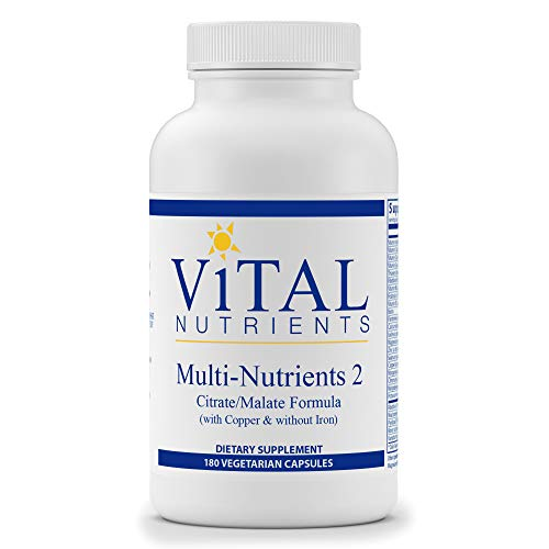 Vital Nutrients - Multi-Nutrients 2 - Citrate/Malate Formula (with Copper & without Iron) - Multi-Vitamin/Mineral - Potent Antioxidants - Gentle Bioavailable Form - 180 Vegetarian Capsules per Bottle