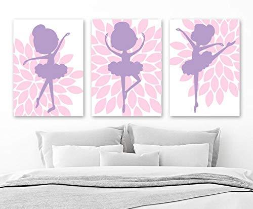 Tian huan88 Ballerina Wall Art bloem ballerina canvas goud prints baby meisje roze paars nursery decor meisje roze purple ballerina bedroom art set 3 stuks