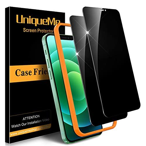 [2] UniqueMe Privacidad Protector de pantalla Compatible con iPhone 12 Pro Max (6.7 pulgadas) Cristal Templado, [Cobertura máxima] [Sin burbujas] HD Vidrio Templado Con marco de instalación