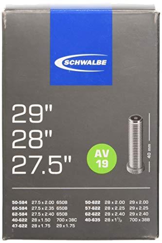 Schwalbe Fahrradschlauch AV19 40/62-584/635 EK AGV 40 mm, scwarz, 27,5 29 Zoll