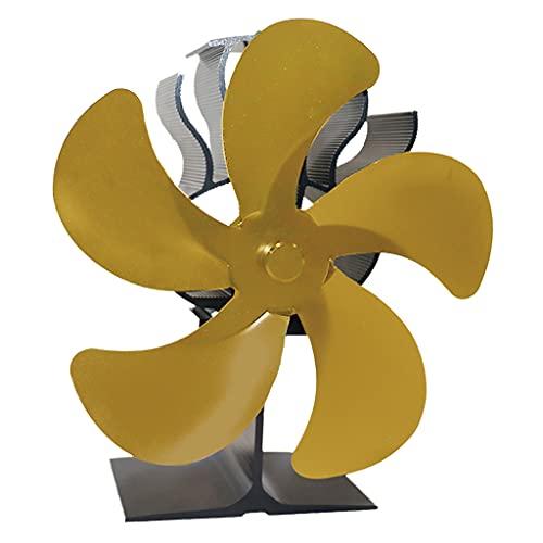 MERIGLARE Ventilador de Estufa Alimentado por Calor: Funcionamiento Silencioso 5 Aspas para Leña/Quemador de Leña/Chimenea: Distribución de Calor Eficiente - Dorado