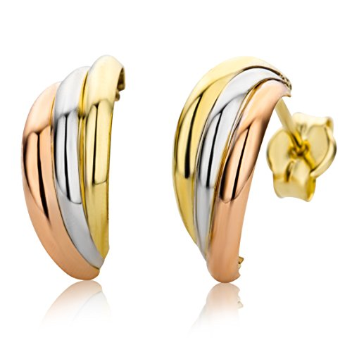 Miore Ohrringe Damen Tricolor Gelbgold / Weißgold / Roségold 9 Karat / 375 Gold