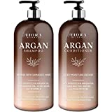 Fiora Naturals Moroccan Argan Oil Shampoo and Conditioner Set with Keratin. Hydrating & Moisturizing Sulfate & Paraben Free- for All Hair Types Men and Women. Safe for color Treated Hair(2 x 16 Fl Oz)