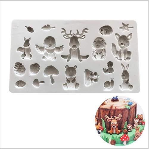 ANNIUP Waldtier-Kuchenformen, Eichhörnchen, Kaninchen, Sika, Hirsch, Igel, Pilzform, Kuchendekoration, Süßigkeitenherstellung, Backwerkzeug, Keksausstecher, Schokolade, Kuchen