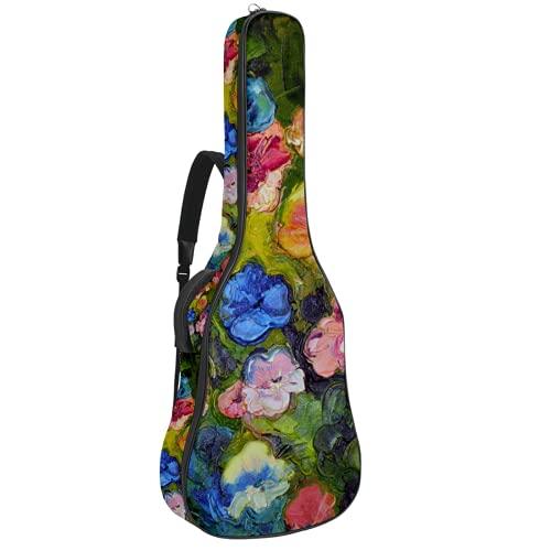 Seasonal Nature Spring Summer Autumn Winter Flower E-Gitarre Tasche 0,35 Zoll Dicke Polsterung Wasserdicht Dual Verstellbarer Schultergurt Gitarrentasche Gigbag