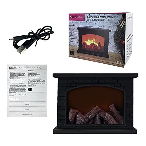 K-Park Realista carbono fuego llama lámpara chimenea lámpara LED retro moda chimenea viento lámpara Acción de Gracias y Halloween decoración luces útiles