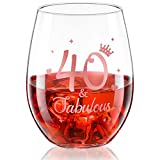 Stemless Wine Glass Rose Gold Birthday Wine Glass Present Anniversary Glasses for Man Women Birthday Party Wedding Anniversary Decorations, 17 oz (40 and Fabulous)