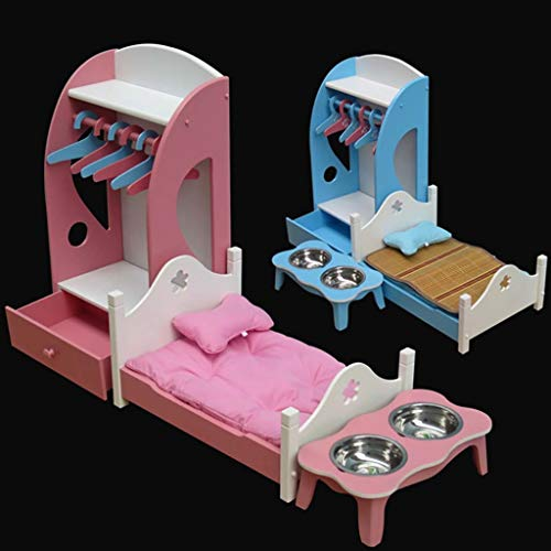 FPigSHS Pet Home Set Contain Pet Coat Rack Hanger Dog's Clothes Hangers Pet Dish Rack Princess Bed Cat Bed Cat Supplies (Color : Blue, Size : S)