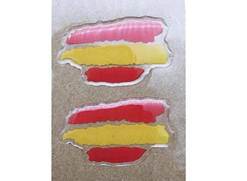 NEWTORO Pegatina de Resina Bandera de Espana Sin Escudo Trazos 45x27mm 2Uds