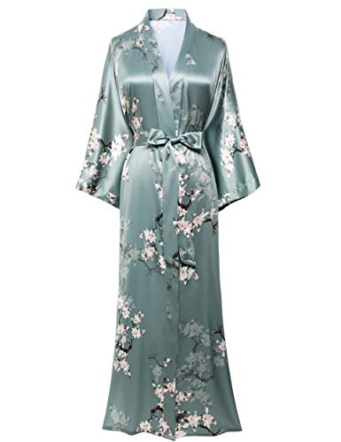 BABEYOND Damen Morgenmantel Maxi Lang Satin Sommer Kimono Blumen Muster Gedruckt Bademantel Kimono Strickjacke Damen Lange Robe Blumen Schlafmantel Girl Pajama Party (Stil3 - Grün)
