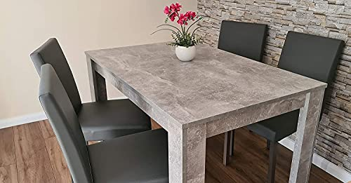 Modern wood stone grey Dining Table and 4 PU faux leather wooden chairs kitchen table set of 4