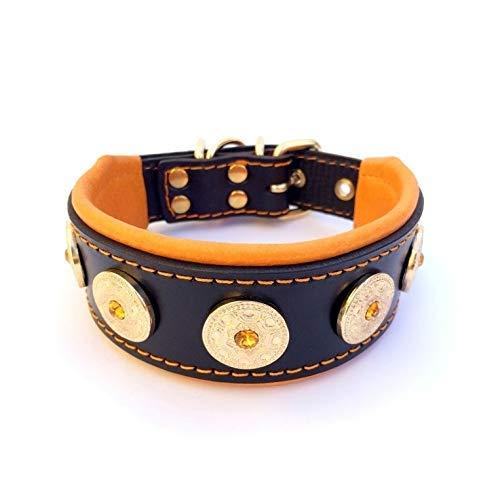 Bestia Bijou Collar, Studded, Handmade, French Bulldog, Bulldog, Terrier, German Shepherd, 2 inch Wide, 100% Leather, Soft Padded, Made in Europe