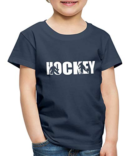 Eishockey Hockey Spieler Umrisse Kinder Premium T-Shirt, 134-140, Navy