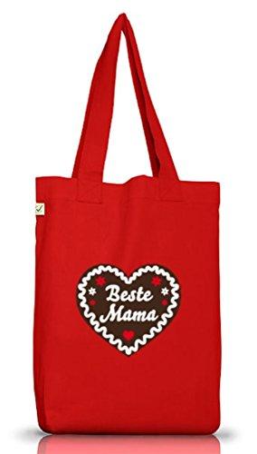 Shirtstreet24, Muttertag - Lebkuchenherz Beste Mama, Jutebeutel Stoff Tasche Earth Positive, Größe: onesize,Red