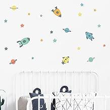 56 unds Pegatinas pared vinilo decoracion espacial cohetes estrellas astronautas cuartos ni/ños guarderias colegios color blanco de CHIPYHOME