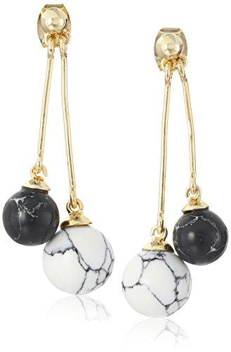 Noir Jewelry Semi Precious White Sphere Drop Earrings