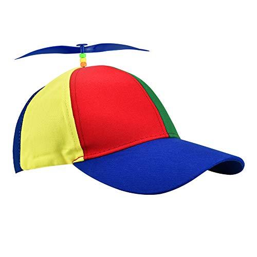 LYTIVAGEN Kinder Propeller Mütze Bunte Patchwork Hut Helikopter Mütze Baseball Propeller Mütze Lustige Helikopter Hut Baseballmütze mit Propeller Hubschrauber Mütze für Erwachsene und Kinder