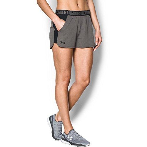 UNDAS|#Under Armour Under Armour Damen atmungsaktive Sporthose, komfortable Sportshorts mit loser Passform Play Up Short 2.0, Grau(Carbon Heather/Black (091), XL