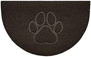Nicoman Embossed Halfmoon Half Circle Door Mat Dirt-Trapper Jet-Washable Doormat 70x44cm (Brown, PAW Shape) - Use Indoor o...