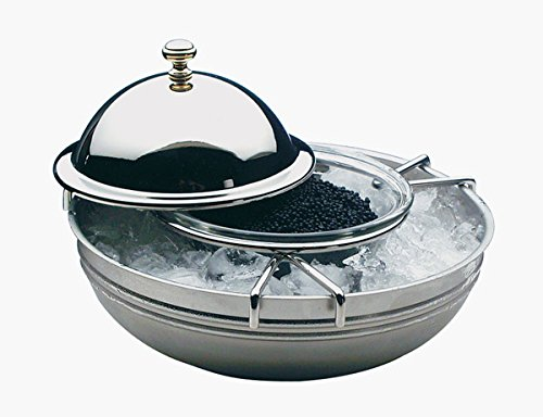 APS Kaviarkühler, 4-teilig, Caviarkühler, Kaviar, Caviar Schale, Buffet Kühler Ø 18 cm, Höhe: 12 cm, 18/8 Edelstahl poliert, Glasschale Ø 10 cm