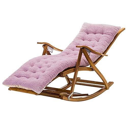 Reclining Stützender Schaukelstuhl Mit Baumwollkissen, Faltbarer Alter Mann-Nickerchen-Bambusstuhl Der Fußmassage-Rolle Sonnenliege (Color : Purple)