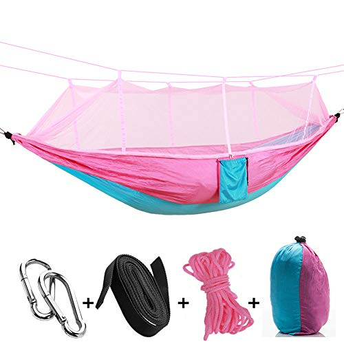 MultifunctionDoubleHammock Camping with Storage Bag + Strap,300kg Load Capacity (260x140cm) Pink Day Bed Outdoor for Garden Beach Camping Hunting Hiking Traveling