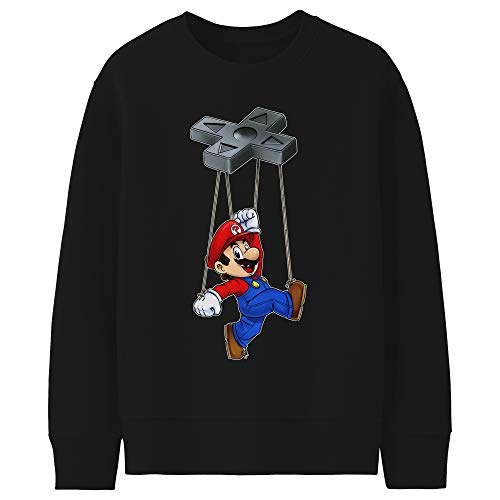 Okiwoki Pull Enfant Noir Parodie Super Mario - Mario - Mario-Nette on (Sweatshirt de qualité Premium de Taille 13-14 Ans - imprimé en France)