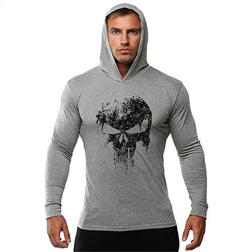 FENGCHENG Herren Gym Dünner Sport-Hoodie Punisher Skull Totenkopf Mens Bodybuilding Hoodies Kapuzenpullover Longsleeve Tops-65% Baumwolle 35% Elasthan (grau,L)