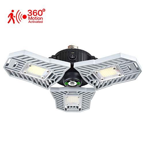 Led Garage Lights Motion Sensor Garage Lighting 60W 6000 LM Tribrite Led Adjustable Light,Indoor Tribright Garage Light Flex Led Garage Light Deformable Lamp (Motion Activated Version)