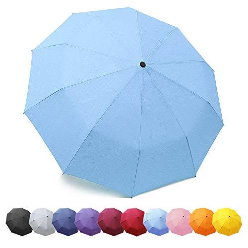ZOMAKE Travel Umbrella, 10 Ribs Windproof Compact Folding Umbrella, Auto Open/Close Umbrella for Rain & Sun