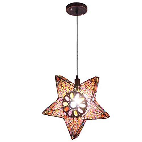 Hanglamp met sterren, retro Marokkaans Oosterse design van ijzer en acryl voor kussens restaurant slaapkamer E14 34 cm x 31 cm x 15 cm, eenvoudig en praktisch