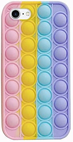 Herbests Custodia Compatibile con iPhone 7/iPhone 8 Cover Bubble Stress Relief Custodia Morbida in Silicone Pop Sensory Fidget Cover TPU Bumper Antiurto Antistress Case, Arcobaleno