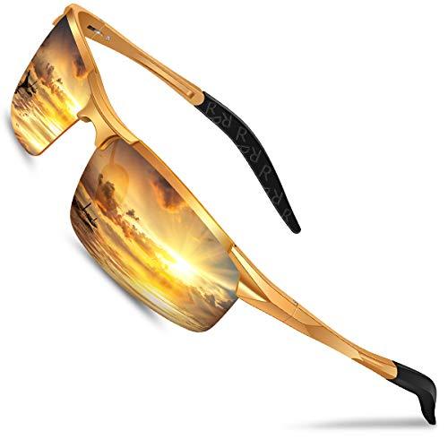 Nachtfahrbrille Auto Polarisiert Herren Damen Autofahren - HD Gelbe Anti Glanz Biker Nachtsichtbrillen Brille Gewidmet Nachtbrille(Gold)