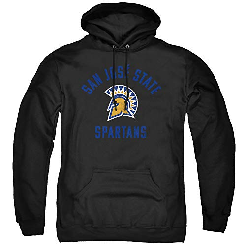 San Jose State University Official Sjsu Spartans Logo Unisex Adult Pull-Over Hoodie ,Black, X-Large