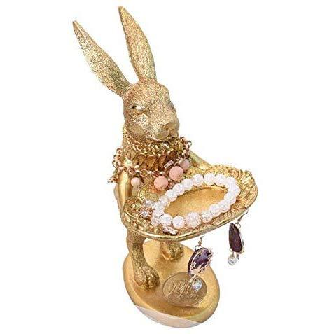 Fikujap Soporte de joyería Bandeja de Resina Dorada Conejo Nordic Creative Joyería Estante Inicio Textiles Lindos Animales