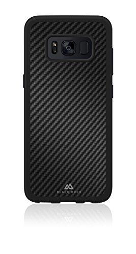 Black Rock - Material Case Real Carbon Hülle für Samsung Galaxy S8 | Handyhülle, Schutzhülle, Silikon, Soft, TPU, Fiber Cover (Schwarz)