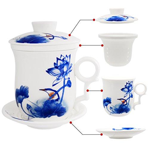 Tasse en porcelaine avec couvercle et soucoupe Hollihi - Infuseur de thé chinois en porcelaine Jingdezhen pour thé en vrac ou café - Pour la maison ou le bureau