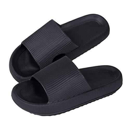MoneRffi Sommer Streifen Hausschuhe Indoor-Haus Anti-Rutsch Dusche Badeschuhe Schlappen rutschfest Pantoffeln Gartenschuhe Home Slippers Damen Plastik Schuhe Sandaeln(schwarz#1,36-37EU)