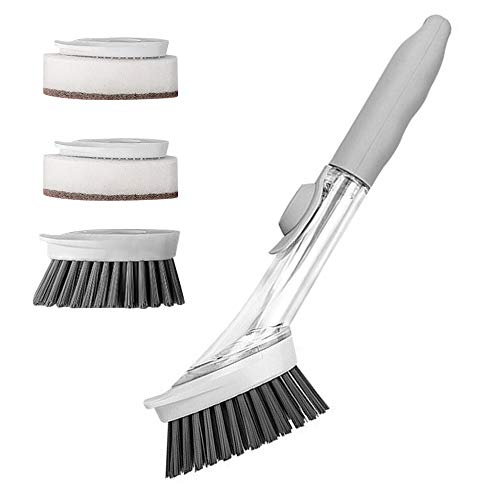 feichang SOAP DIPENSING - Cepillo de limpieza para el hogar, multifuncional, esponjas para lavavajillas, para platos, accesorios de cocina (color: gris claro)
