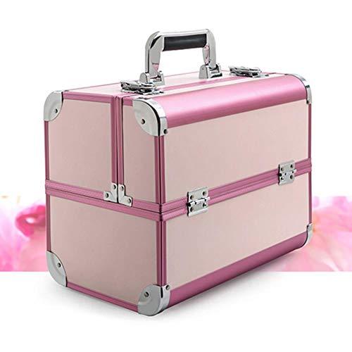 EMOHKCAB Draagbare professionele make-uptassen Koffers voor cosmetica Vrouwen met grote capaciteit Reizen Make-up tassen Doos Manicure Cosmetologie, B-roze