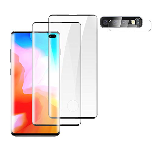 """[2+1]Galaxy S10 Plus(6.4"""") Tempered Glass Screen Protector+Camera Lens Protector [9H][Fingerprint unlock] [3D Full Coverage][Easy to install][Fit all Galaxy S10 Plus Case]For Samsung Galaxy S10 Plus"""