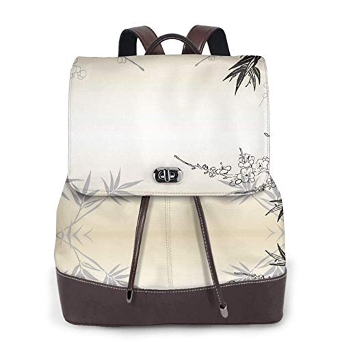 Women'S Leather Backpack,Bamboo And Cherry Blossoms Tree Zen Print Women'S Leather Backpack