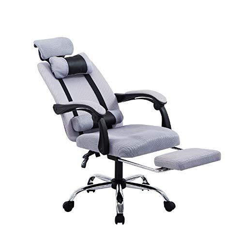 Silla de oficina transpirable 150° sentada, reclinable, rotación libre de 360 °, ajuste de altura libre, con patas de reposo, doble reposacabezas, silla de oficina silenciosa