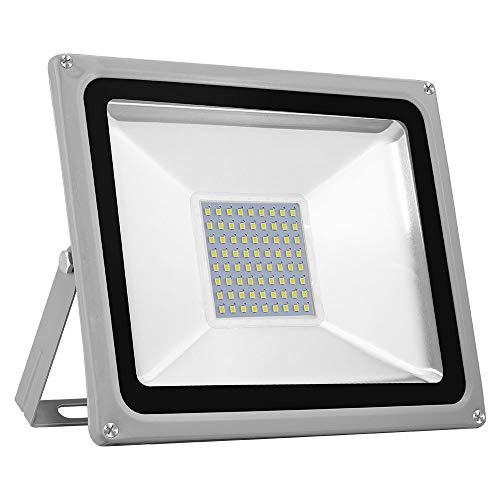 50W Foco LED Exterior, Papasbox 5000LM Impermeable IP65 Proyector Blanco Frío 6000K Foco LED, Lámparas Led de Seguridad, Igual a 250W Luz Halógena para Jardín, Garaje, Hotel, Patio, Pasillo