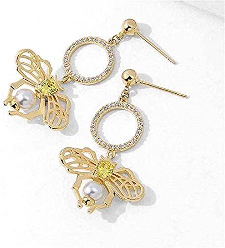 NC110 Collar con Colgante Par de Pendientes de Abeja Accesorios de joyería para Mujeres y niñas Cajas de Regalo Regalos Elegantes y Nobles YUAHJIGE